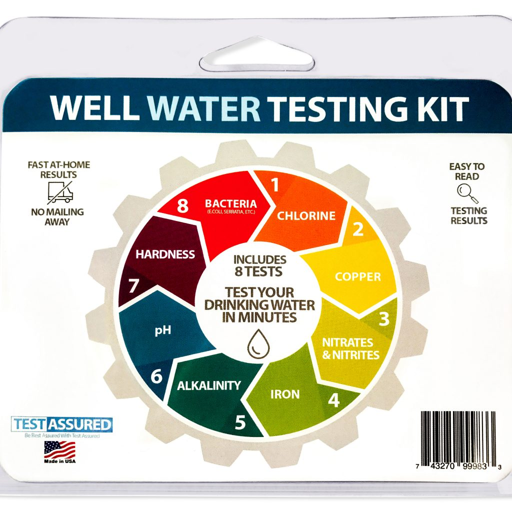 Picture of front of well water test kit